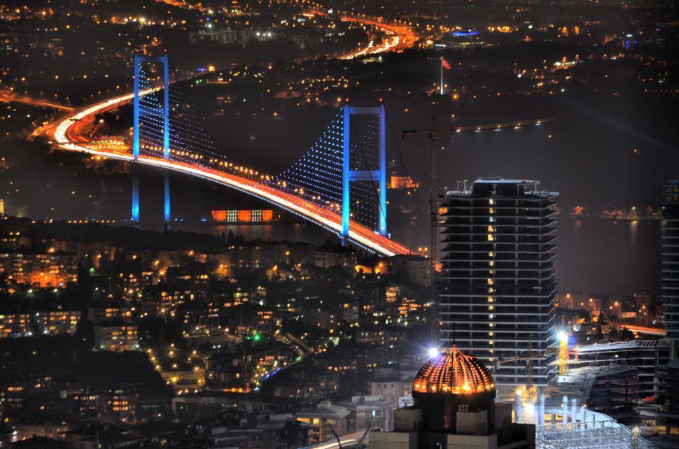 Download Free Stock Photo of Bosporus Bridge at night