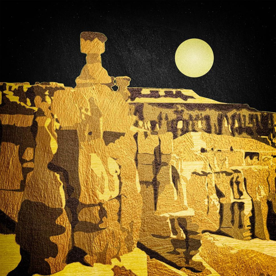 Download Free Stock Photo of Full Moon Over Bryce Canyon in Utah - Abstract Design
