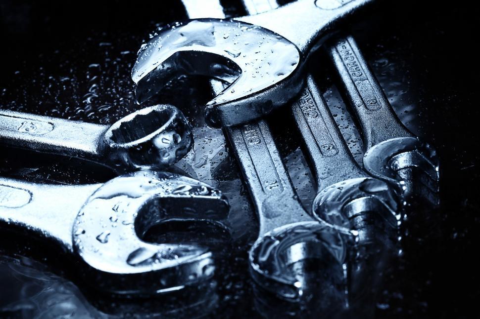 Download Free Stock Photo of Set of open ended wrenches, getting wet