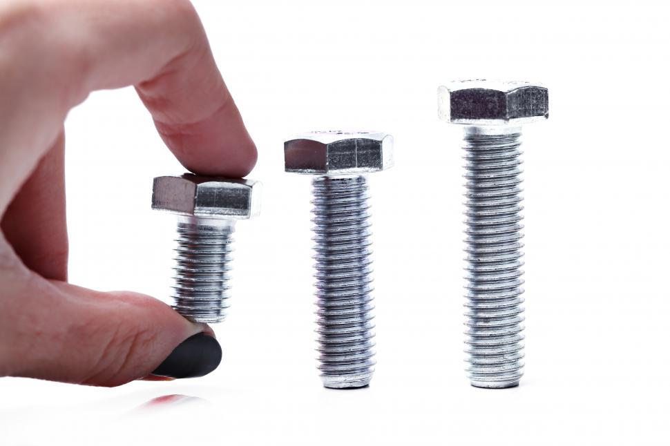 Download Free Stock Photo of Three lengths of bolts