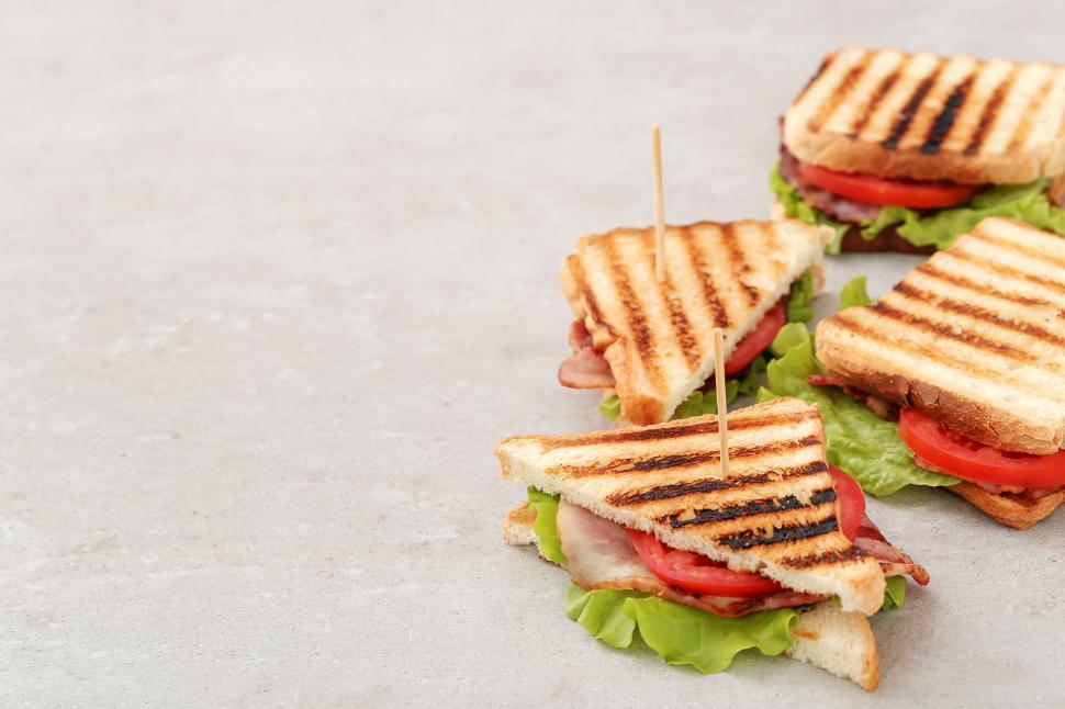 Download Free Stock Photo of BLT sandwiches with panini grill marks