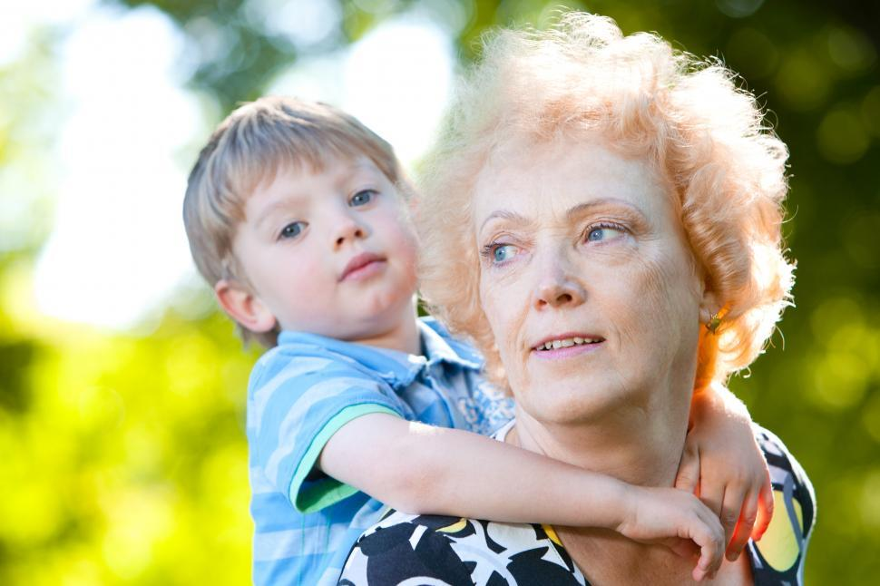 Download Free Stock Photo of Senior woman with her grandson in the park