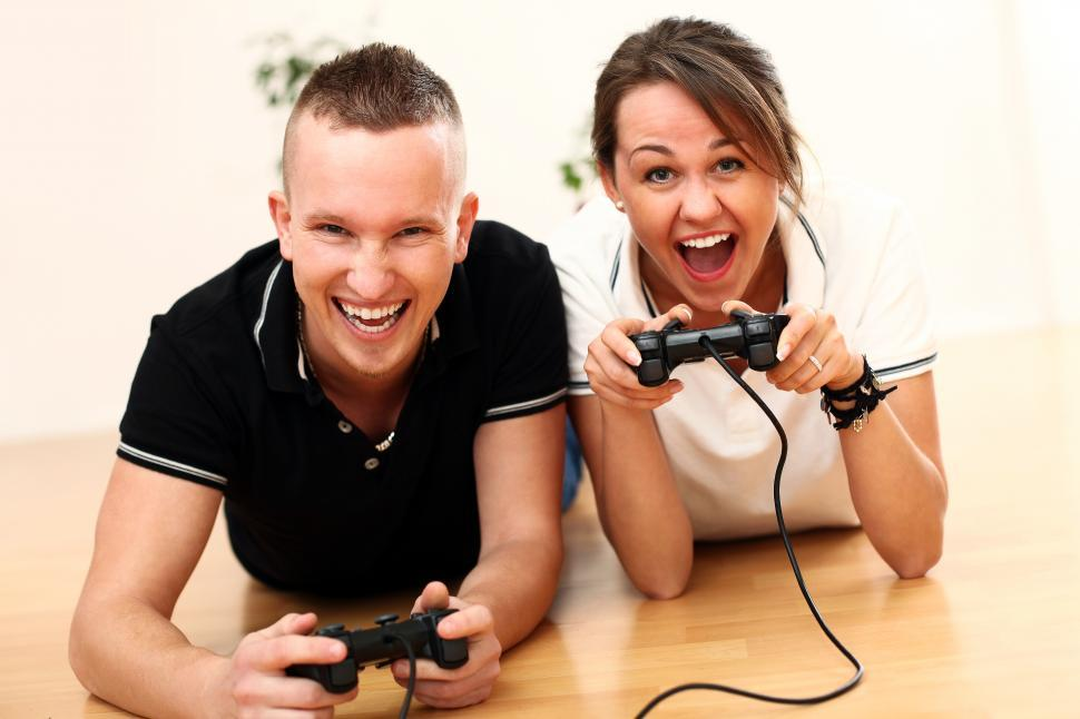 Download Free Stock Photo of Heated video game battle
