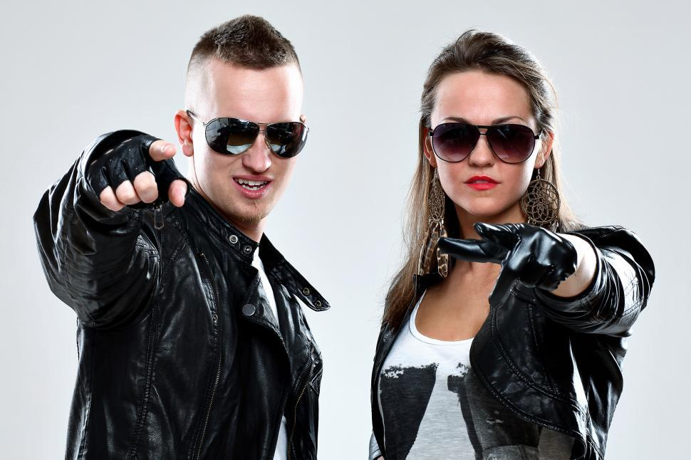 Download Free Stock Photo of Leather wearing people pointing at the camera