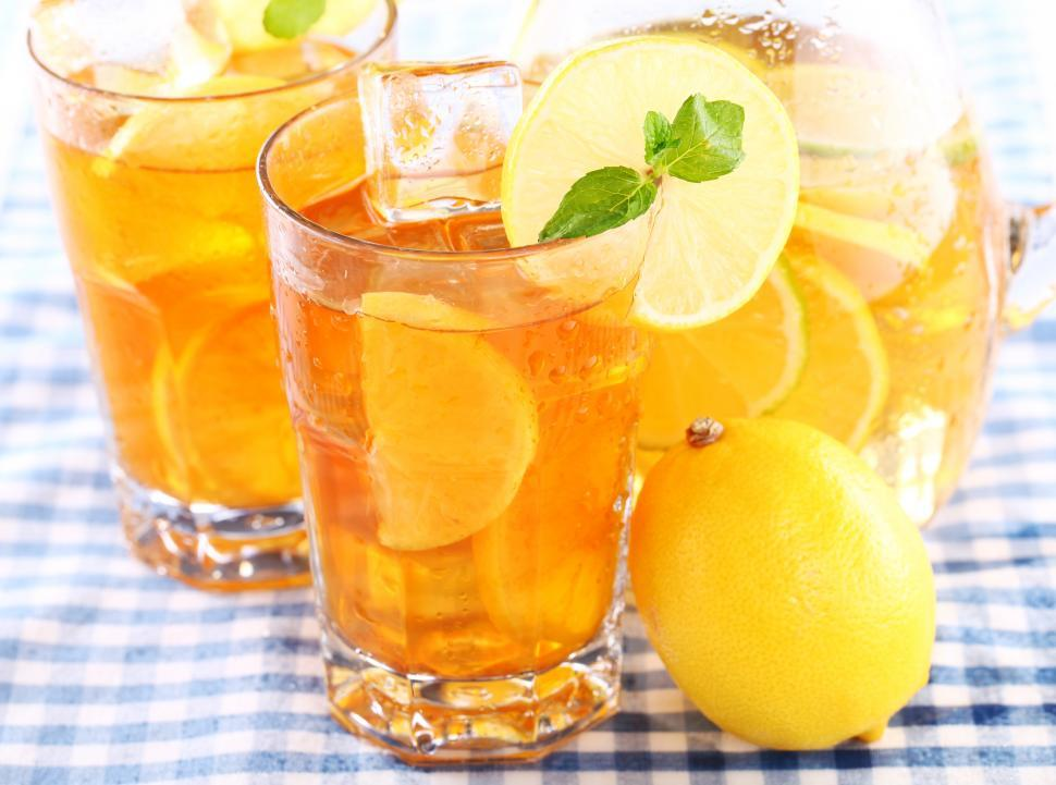 Download Free Stock Photo of Iced tea - glasses and lemons