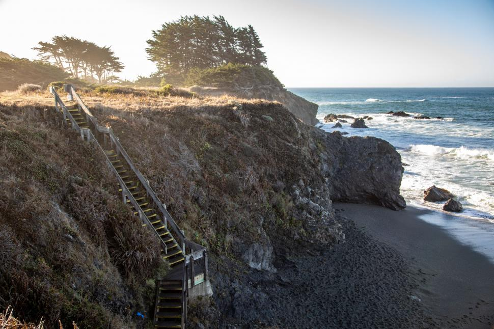 Download Free Stock Photo of Long wooden stairs down to the beach