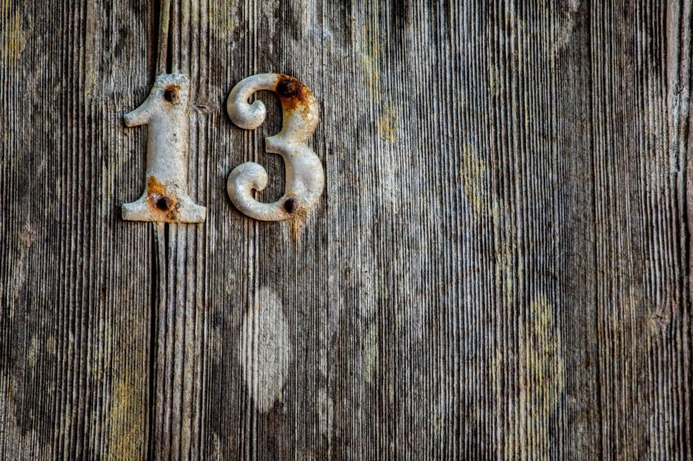 Download Free Stock Photo of Weathered Metal Numbers 13