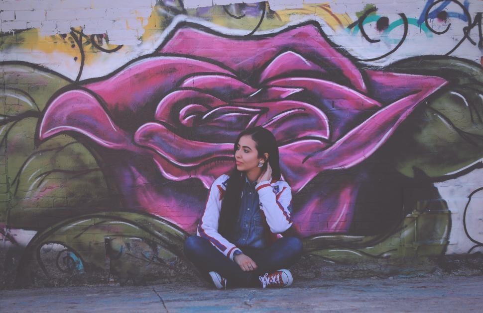 Download Free Stock Photo of Woman with graffiti wall