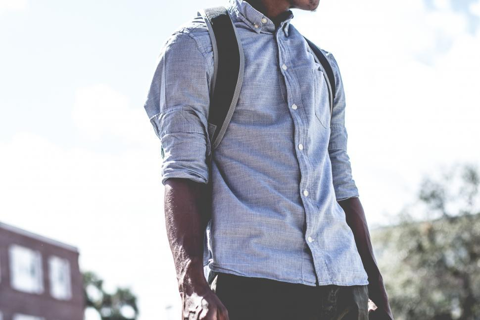 Download Free Stock Photo of Urban Man with backpack