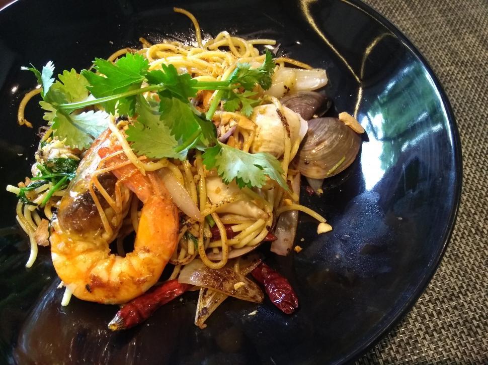 Download Free Stock Photo of Seafood spaghetti