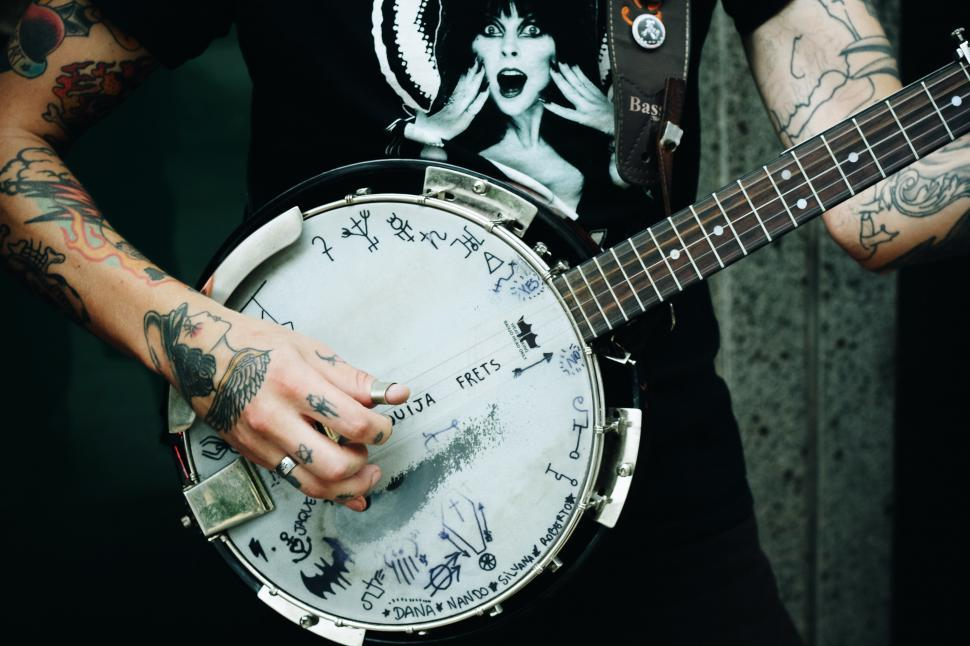 Download Free Stock Photo of Hands and Banjo guitar