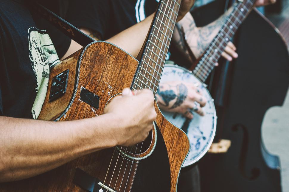 Download Free Stock Photo of Guitar strings and hand