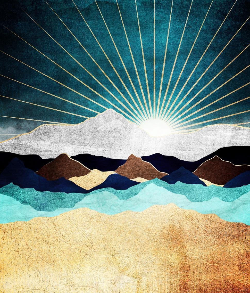 Download Free Stock Photo of Rising Sun over Metallic Mountains