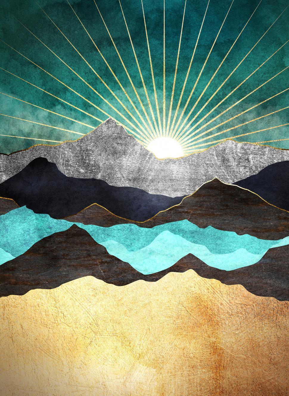 Download Free Stock Photo of Rising Sun over Metallic Mountains II