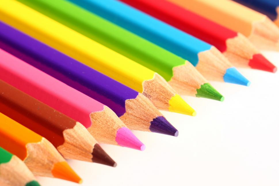Download Free Stock Photo of Colorful pencils with sharpened tips