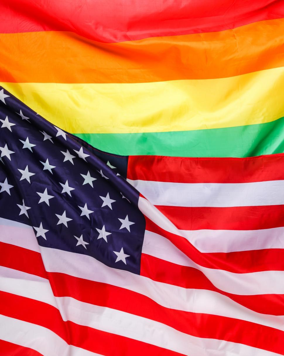 Download Free Stock Photo of USA and Rainbow Pride flag
