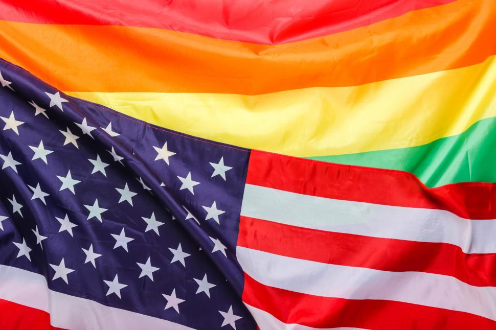 Download Free Stock Photo of Rainbow pride flag and the flag of the USA