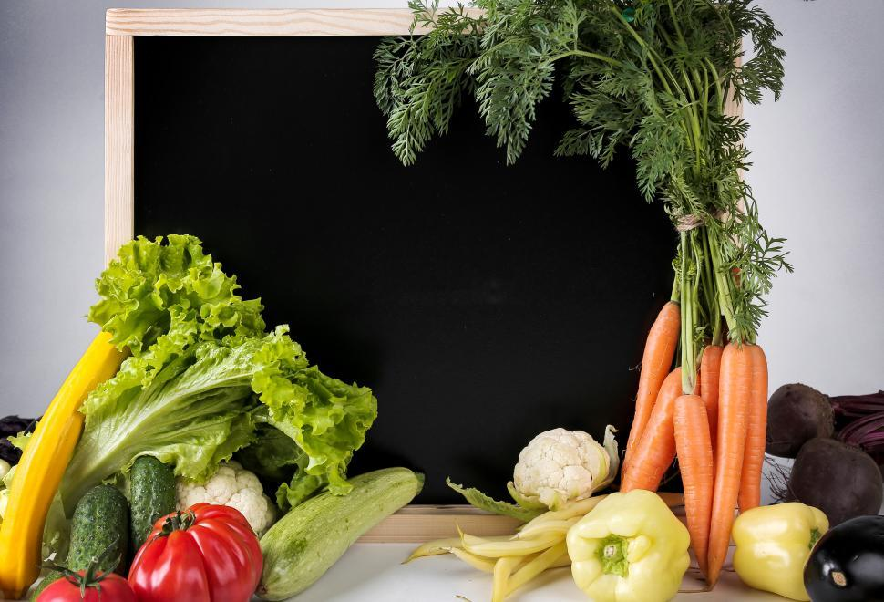 Download Free Stock Photo of Vegetables and blackboard