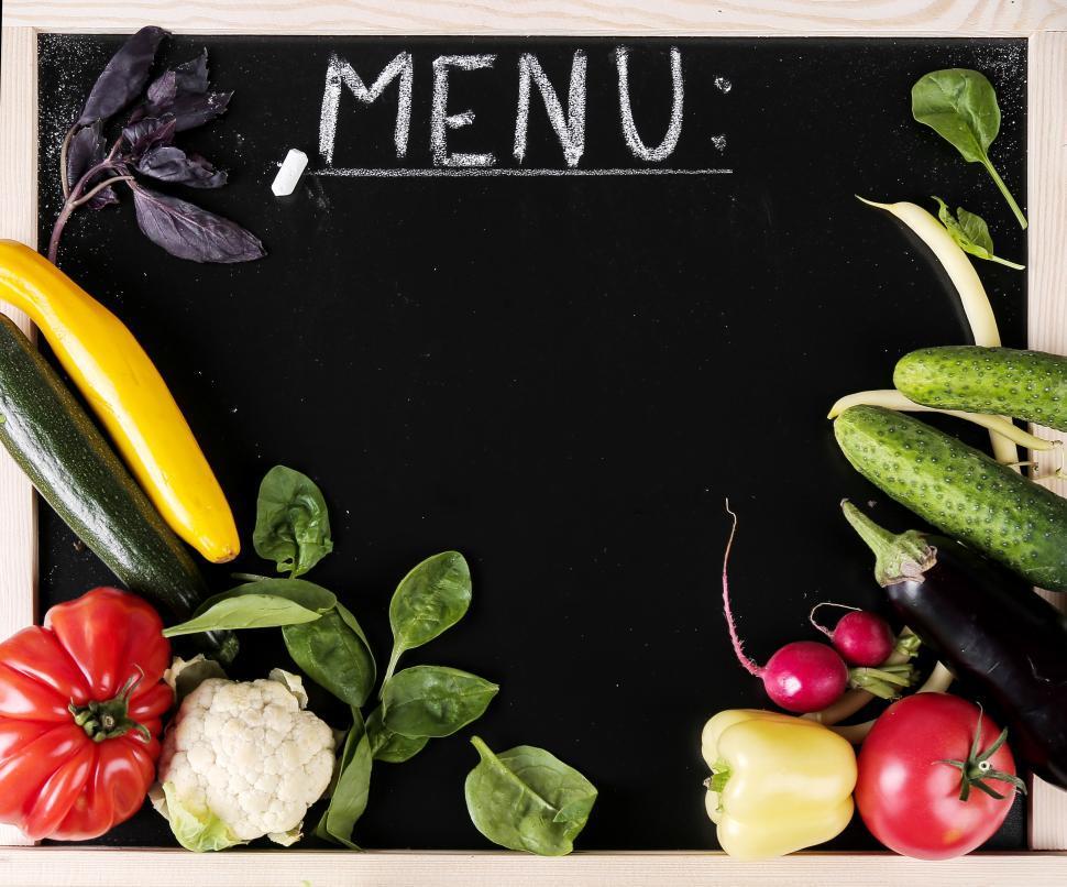 Download Free Stock Photo of Vegetarian menu board
