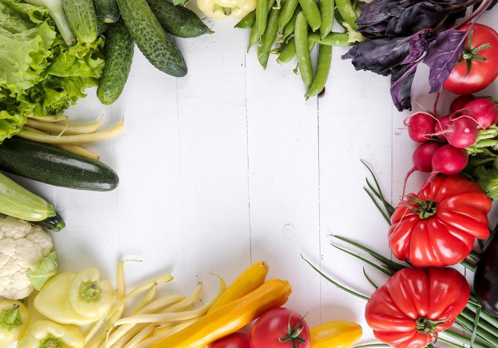 Download Free Stock Photo of Vegetable background frame