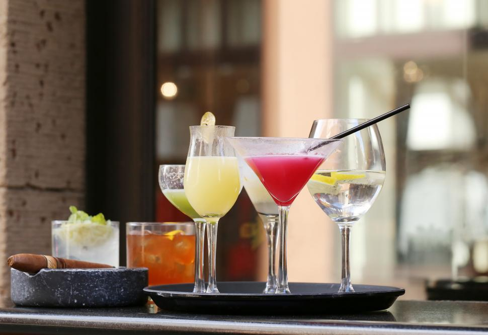 Download Free Stock Photo of Tray of cocktails on the bar
