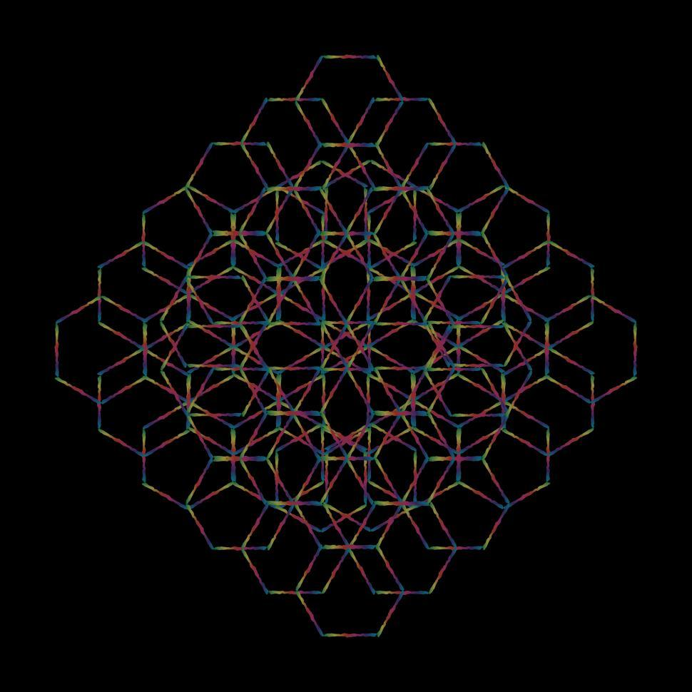 Download Free Stock Photo of Complex Hexagon Pattern on Black
