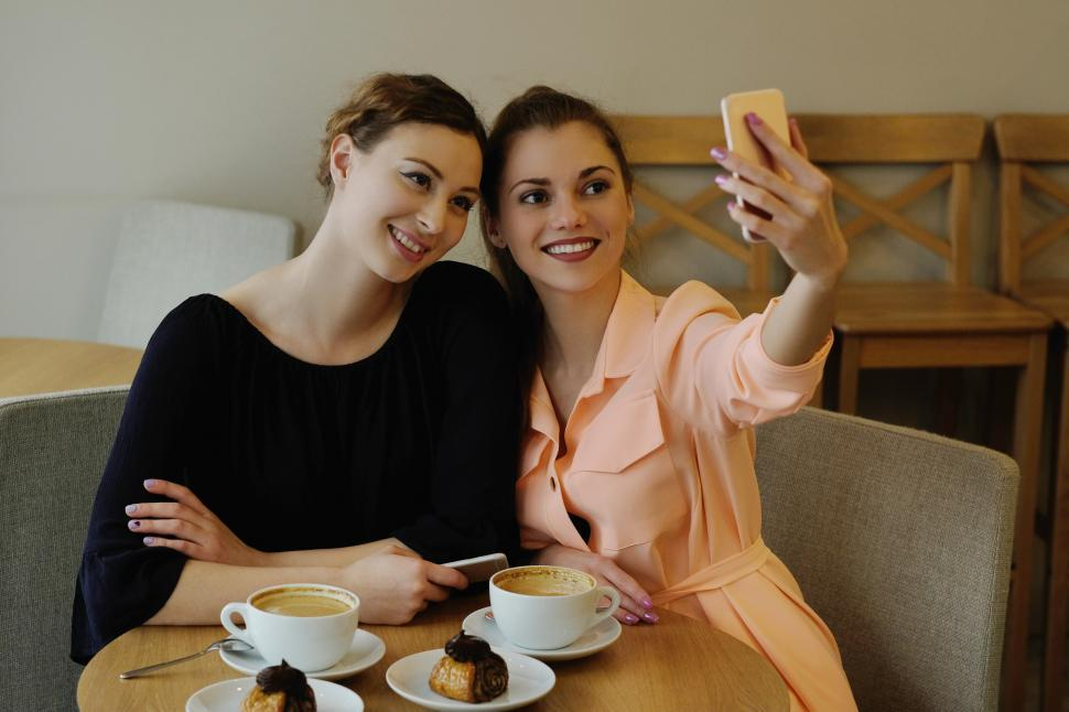 Download Free Stock Photo of Women in cafe taking a selfie