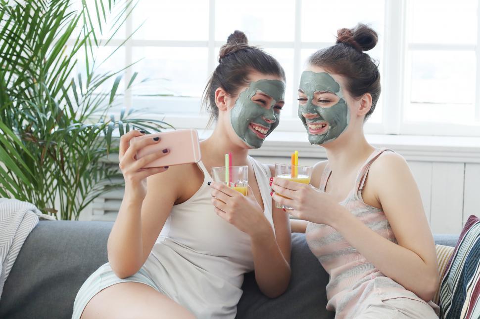 Download Free Stock Photo of Women having fun during spa day