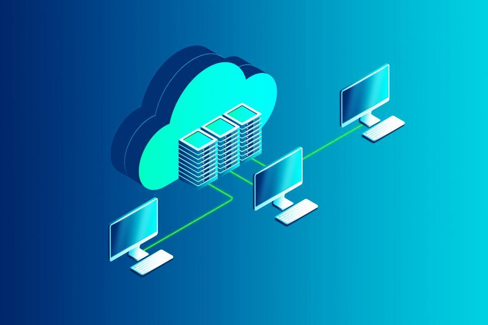 Download Free Stock Photo of Cloud Computing with Computers Connected to the Virtual Cloud