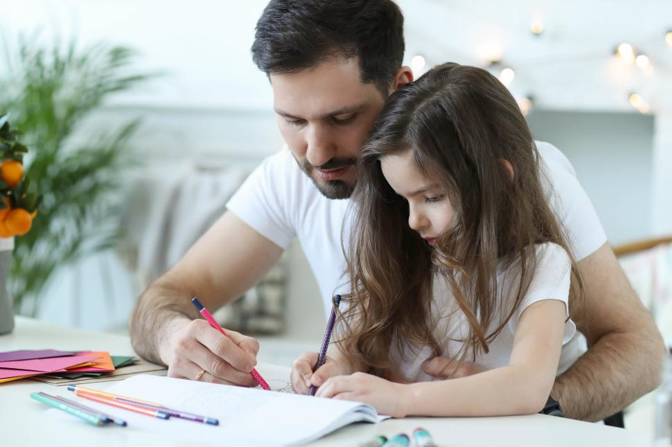 Download Free Stock Photo of Man and child drawing