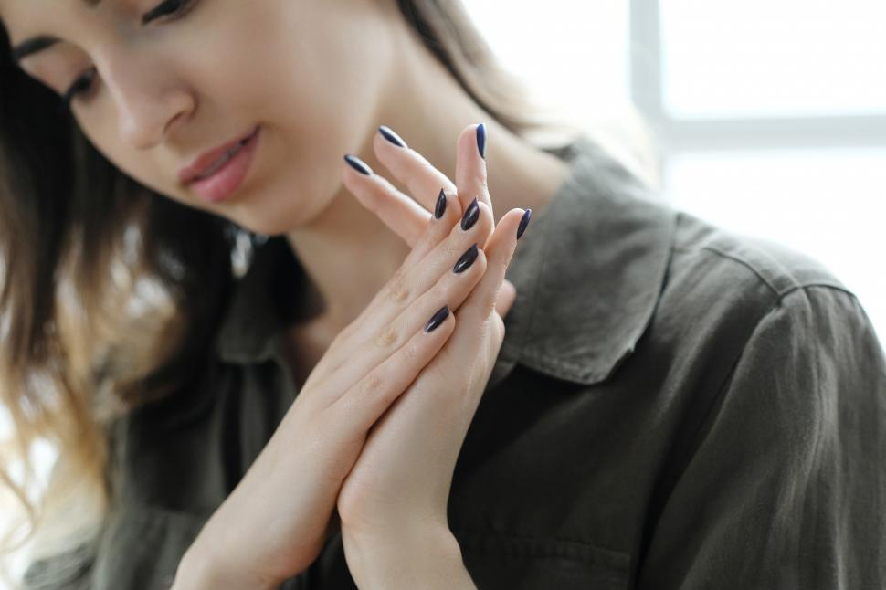 Download Free Stock Photo of Casual woman, hands together