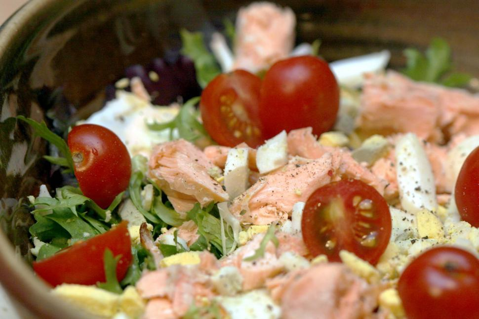 Download Free Stock Photo of Salmon salad with boiled eggs