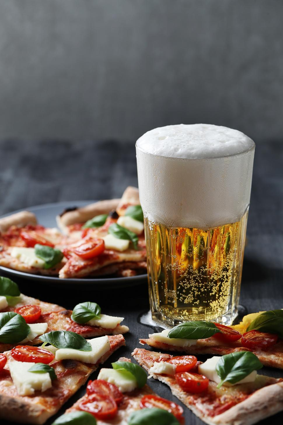 Download Free Stock Photo of Pizza and beer