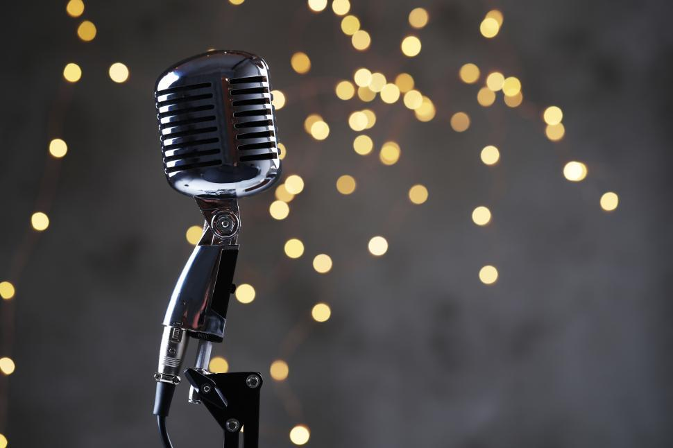 Download Free Stock Photo of Chrome microphone and lights