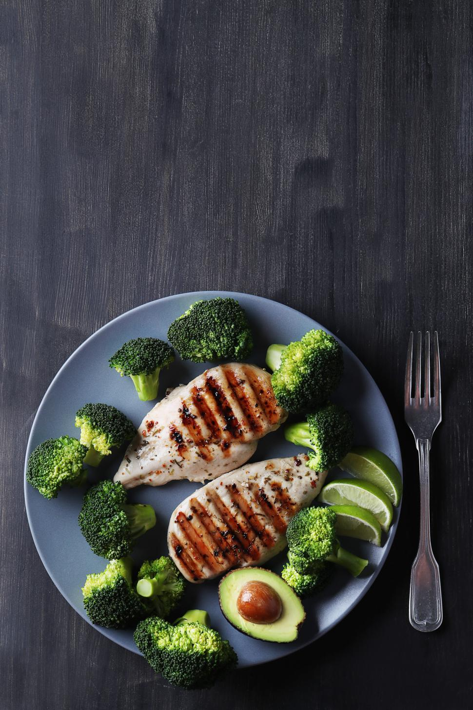 Download Free Stock Photo of Grilled chicken and broccoli dinner