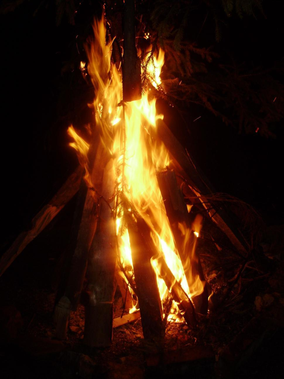 Download Free Stock Photo of Camp Fire At Night