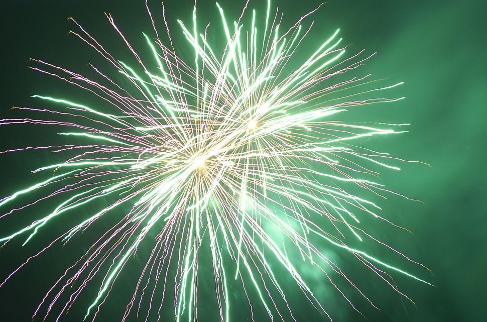 Download Free Stock Photo of Green Fireworks