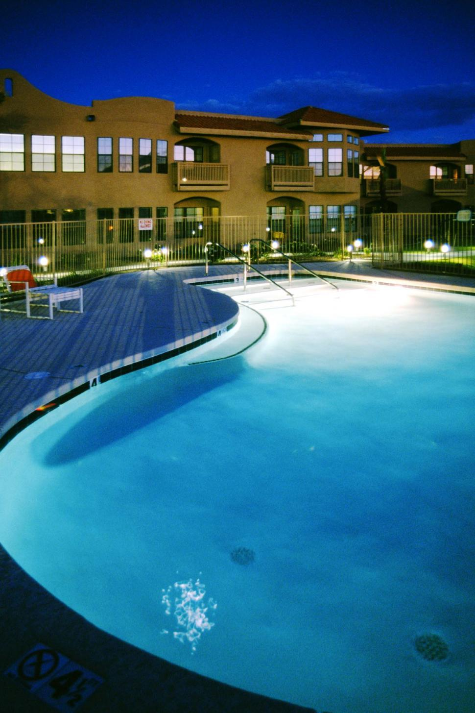 Download Free Stock Photo of Pool and Apartment Complex