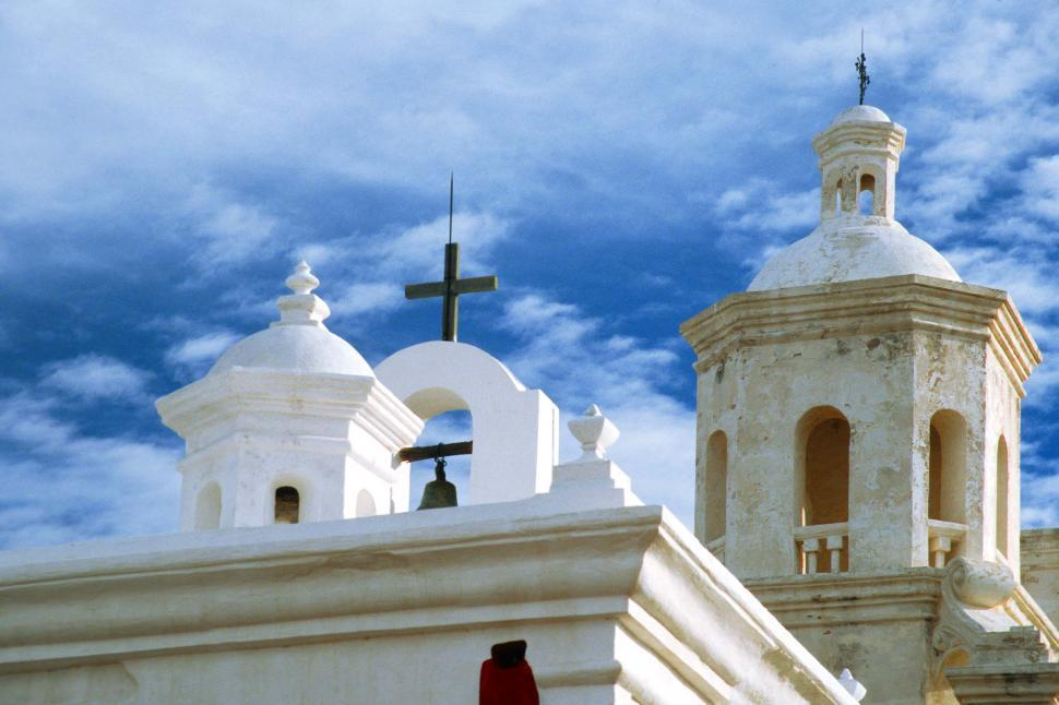 Download Free Stock Photo of mission san xavier del bac church arizona tucson franciscan sonoran religious religion domes crosses bells towers historic