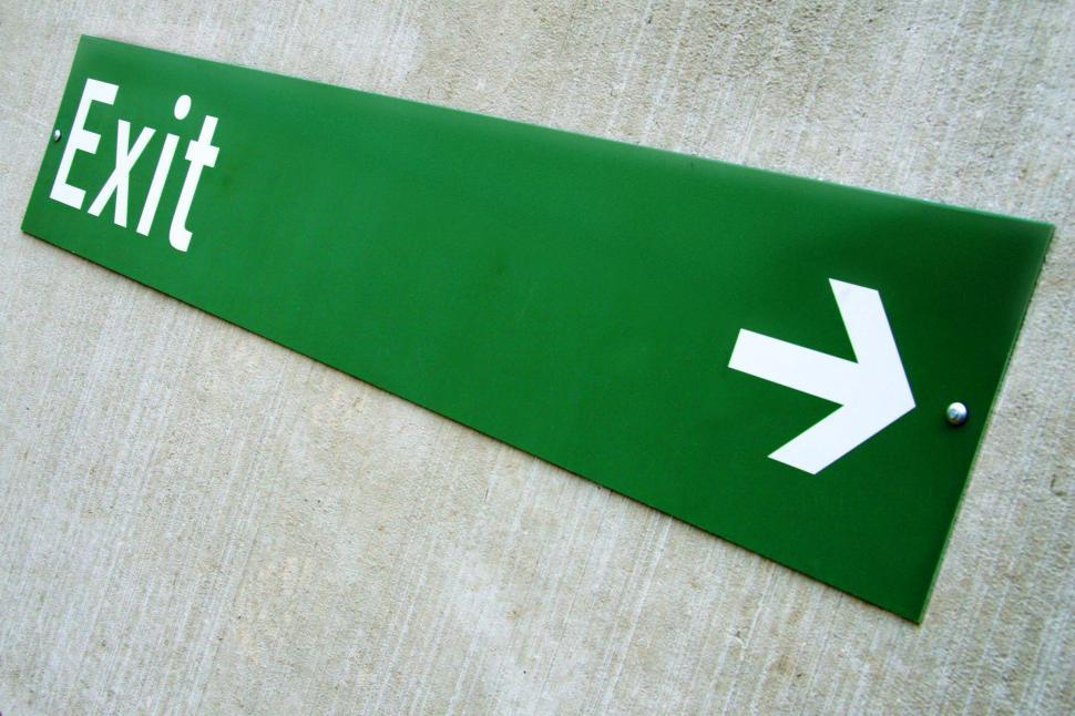 Download Free Stock HD Photo of Green Exit Sign with Arrow Online