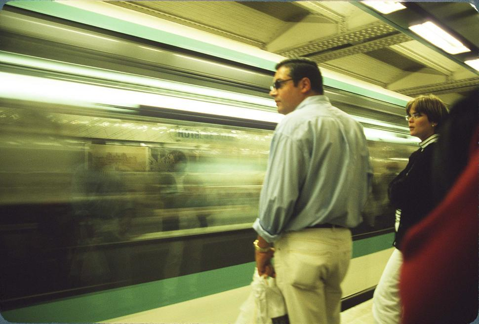 Download Free Stock Photo of People Watching Subway Train