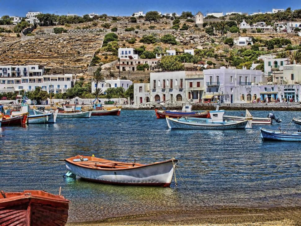 Download Free Stock Photo of Mykonos Harbor