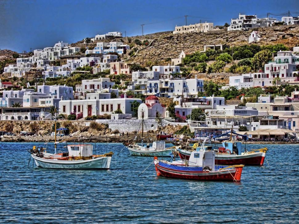 Download Free Stock Photo of Mykonos Harbor 2