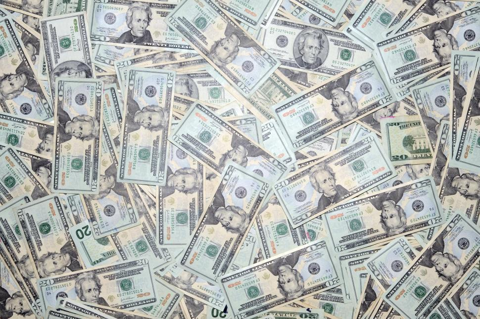 Download Free Stock Photo of Close-up of scattered 20 dollar bills