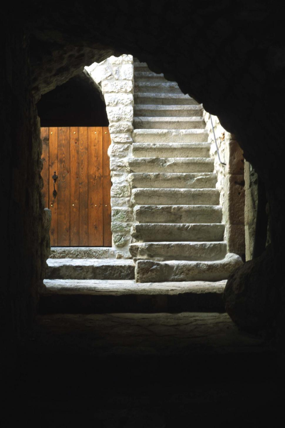 Download Free Stock HD Photo of Tunnel, steps and wooden door Online