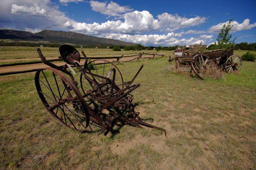 Download Free Stock HD Photo of Antique farm equipment and wagon Online