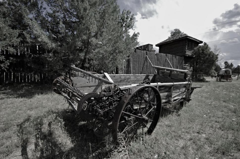 Download Free Stock Photo of Black and White view of Wooden wagon