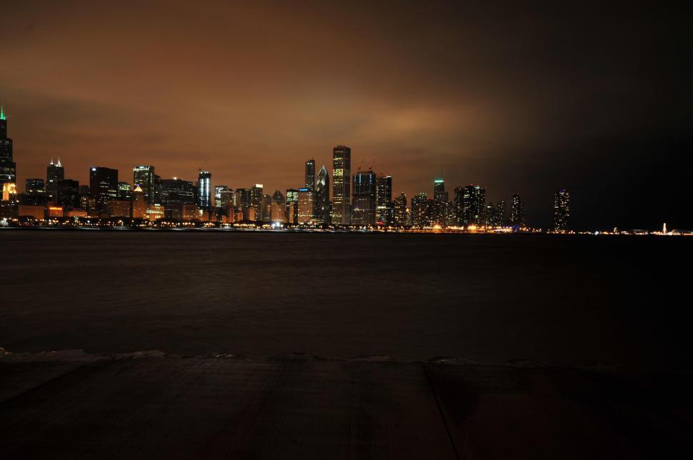 Download Free Stock Photo of Dark city skyline