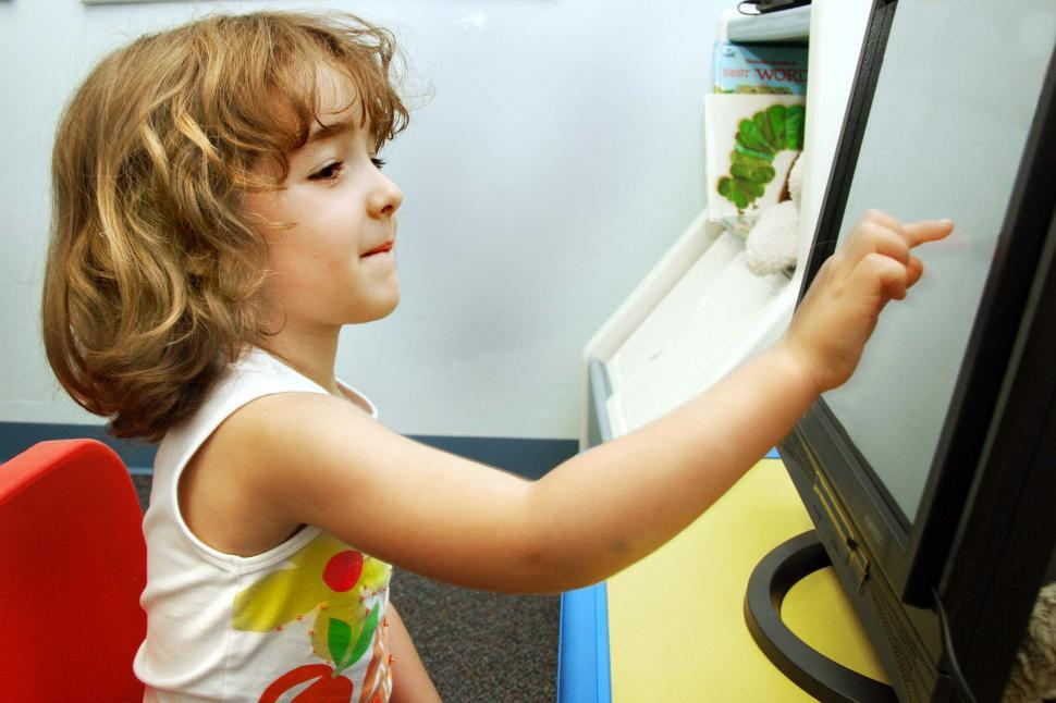 Download Free Stock Photo of Child and touchscreen