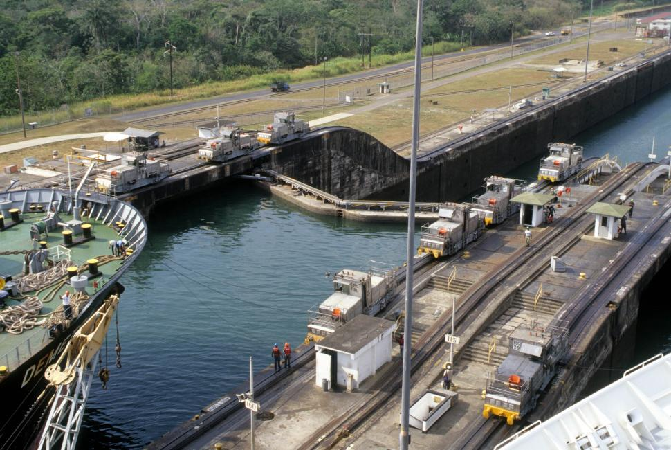 Download Free Stock Photo of Huge lock in the water - Panama Canal